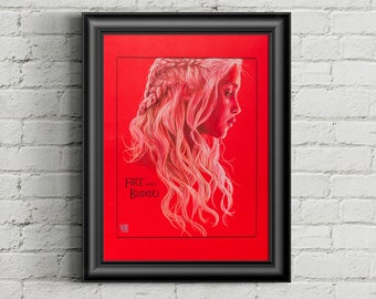 Fire and Blood - Daenerys Game of Thrones - portrait art print