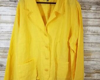 Yellow FLAX Linen Blazer 2G