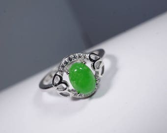 Green Jade Ring - Natural Emerald Jade Ring - Full Sterling Silver Adjustable Solitaire Engagement Ring Size 6 ~ 7.5