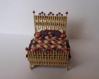 Quarter scale miniature wicker bed