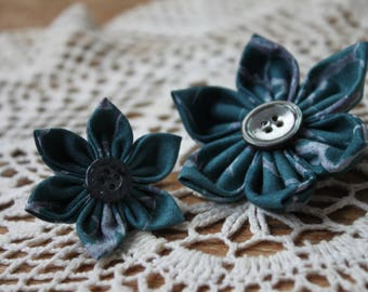 Matching Mother/Daughter Flower Barrette - Blue splotches