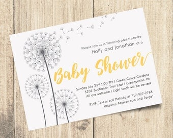 Gray and Yellow Baby Shower Invitation | 7x5 Digital File