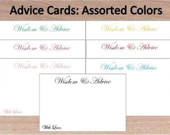 Simple Printable Advice Cards~Any Occasion Advice Cards~Plain Advice Cards~Assorted Colors~Unique Advice Cards~Wedding~Graduation~Birthday