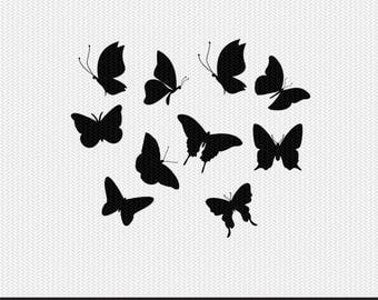 butterflies svg dxf jpeg png file stencil monogram frame silhouette cameo cricut clip art commercial use