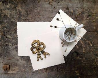 Antique Golden Brass Bow Decoration - Furniture Ornament - Golden Decorative Bow -
