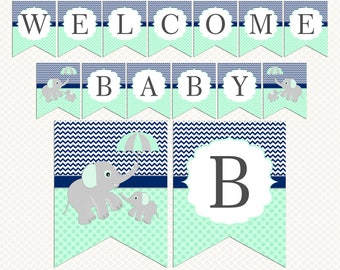Elephant Umbrellal Baby shower banner. Navy blue Mint green Baby shower banner download. Printable banners. Boy Baby shower decorations
