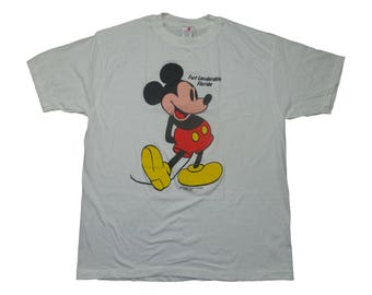 Vintage Mickey Mouse 1980s Ft Lauderdale Florida Walt Disney Tee - Vintage 80s 90s Mickey Mouse Disneyland Cartoon Tshirt - XL
