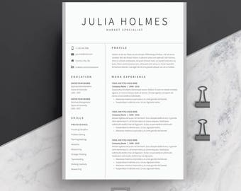 Resume Template 4 page | CV Template + Cover Letter for MS Word | Instant Digital Download | 'Julia'