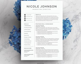Resume Template 3 page | CV Template + Cover Letter for MS Word | Instant Digital Download | 'Nicole'