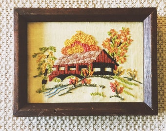 Vintage Crewel Embroidery Barn Scene Framed