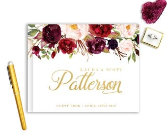 Real Gold Foil Wedding Guest Book Landscape Horizontal Gold Foil Guest Books Custom Guestbook Modern Wedding Script Wedding - Floral Bouquet
