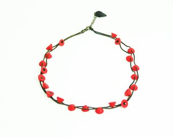 Short necklace Lenses polymer brass oxidized fresh colors