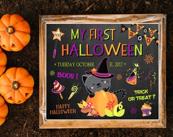 My first Halloween sign, My first Halloween chalkboard, Halloween chalkboard sign for kids, Chalkboard halloween, Printable Halloween sign