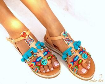 Blue Artemida, Friendships  Boho Sandals, Pom pom summer shoes,  Handmade Sandals, Greek Sandals, Bohemian sandals