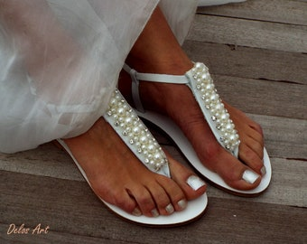 Bridal sandals, Pearl and crystal weeding sandals, leather sandals, luxury shoes, Greek Sandals,   Summer shoes