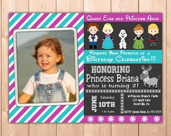 Frozen Invitation Printable with Photo, Personalized Elsa and Anna Birthday Party Invitation Girl Kids and Adults, Free Thank You Note