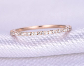 Full Eternity Diamond Wedding Ring 1.2mm Width Petite THIN Band Anniversary Ring 14k Rose Gold Matching Band Infinity Ring Gift for her