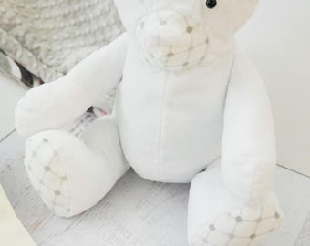 Minky Stuffed Cuddle Bear Large in White with Gray Diamonds
