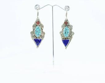 Ethnic Tibetan long earrings, triangle lapislázuli center turquoise eye