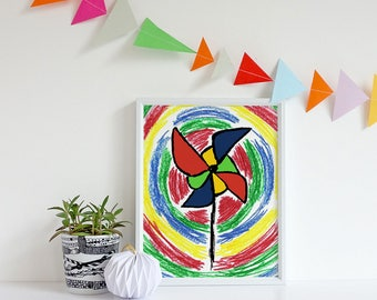 Kids Pinwheel Print, Kids Pinwheel Art, Bright Kids Art, Colourful Kids Art, Kids gifts, Kids Art, Kids Print, Cute Art, Nursery Art