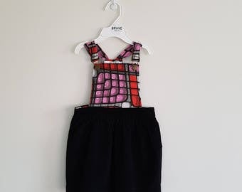READY TO SHIP - Pepperberry Girls Pinafore - Toddler Dress - Girl Toddler Dress - Girls Clothing - Overall Dress - Size 1