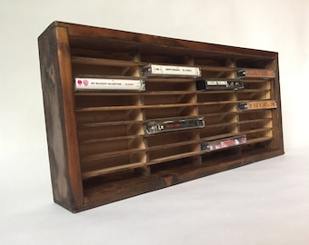 Vintage Cassette Tape Organizer Wall Mounted Display Holds 36 Tapes in Beautiful Dark Wood