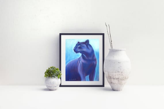 Black panther, original drawing, ooak, soft pastels on paper, gift idea for boy's bedroom, baby shower, Wall art, home office decoration.