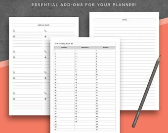 A5 Contacts Address Book Printable - A5 Planner Inserts: Fits Filofax A5, A5 Compact, Kikki K Large, 5.8 x 8.3, Habit Tracker Back to School