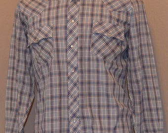 70s Hungry Horse Western Shirt Pearl Snap Plaid Flannel Medium Cotton Blend Blue