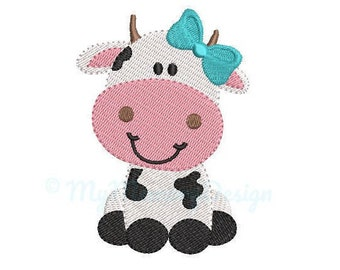 Cow Embroidery Design - Girl Embroidery Pattern - Machine embroidery digital dowload file - INSTANT DOWNLOAD 6 SIZES