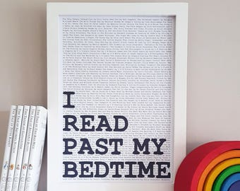 I Read Past My Bedtime Print - Childrens Reading Nook Decor - Literary Gifts - Nursery Book Wall Art - Kids Reading Print - Bookish Print