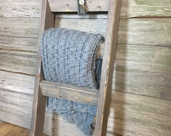 Rustic wooden farmhouse blanket ladder 3.5' or 4' | Distressed towel rack ladder | Decorative country decor furniture | Nursery decor