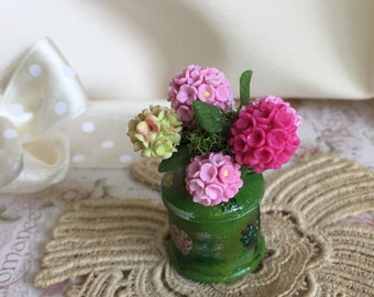 Milk pot with hydrangeas