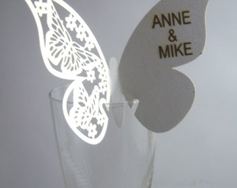 Wedding place card, butterfly place card, wedding table decor, wedding decor, white butterfly, couple name engraved, table number, initials