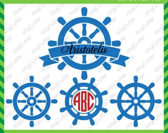 Nautical Wheel Monogram SVG DXF PNG eps Ship marine Cut Files for Cricut Design, Silhouette studio, Sure Cuts A Lot, Makes the Cut, Download