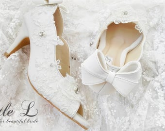 Wedding Shoes - White Flower with Bow Tie and Rhinestone Custom Heels and Flats