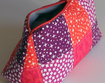Big cosmetic fabric pouch - handmade - unique piece - orange red purple pink - flowers stars