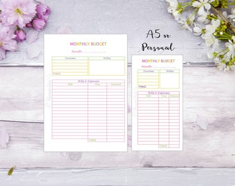 Monthly Budget | A5 | Personal | Printed | Planner | Insert | Finance | Bills | Money | Filofax | Kikkik | Pastel colours
