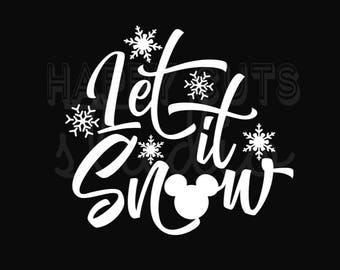 Let it Snow with Mickey Mouse Ornament / Mickey Minnie Mouse Holidays Christmas Matching Family Boys Girls Disney Iron On Decal Vinyl 178