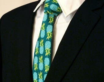 Mens Necktie, Mens Tie, Pineapple Necktie, Pineapple Tie, Blue Necktie, Blue Tie, Green, Yellow, Fathers Day, Birthday, Gift, Wedding, Dad