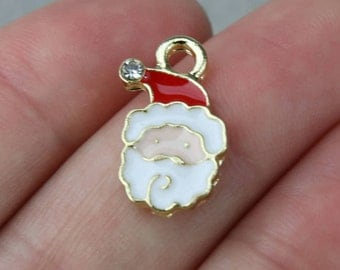 10 PIECES Santa Claus gold plated charm with enamel (with ss4 rhinestone), Santa Claus charm, Christmas charm, B69298
