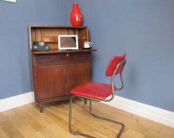 Mid Century Dark Teak Jentique Bureau Writing Desk