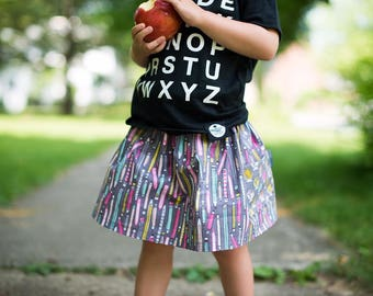 Girl's Pocket Skirt, Back to School Skirt, Preschool Skirt, Kindergarten Skirt, Toddler Skirt, Skirt with Pencils, High Waisted Skirt,