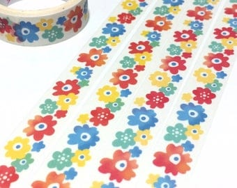 colorful flower Washi tape 5M cute flower red  blue green yellow flower scenery pretty wild flower Vibrant flower sticker tape gift decor