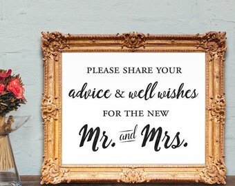 wedding guest book sign - share your advice and well wishes for the new mr and mrs - wedding guest book - 8x10 - 5x7 PRINTABLE