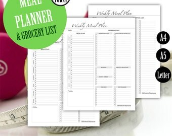 Meal Planner and Grocery List, Fitness Meal Planner, Filofax Inserts, Weekly Menu Planner Pages, Kikki K, A4, A5, Letter, PRINTABLE Planner