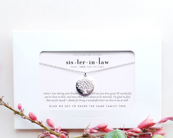 Sister In Law | Sister-in-Law Wedding Engagement Thank You Gift From Bride to New Future Sister of the Groom Family Tree of Life Necklace