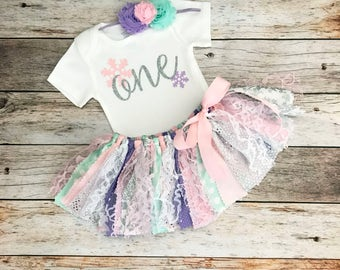 Pink Purple Mint and Silver Winter Wonderland Birthday Outfit with Headband, Baby Girl Winter Onederland Birthday, Pink Silver Fabric Tutu