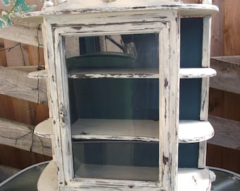 Shabby Chic Chippy/highly distressed Vintage Wall Cabinet