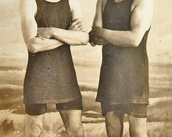 Real Photo Postcard Two Young Men in Swim Suits circa 1910